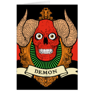 Demon Devil Skull with Bat Wings and Rams Horns Stationery Note Card