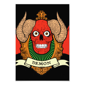 """Demon Devil Skull with Bat Wings and Rams Horns 3.5"""" X 5"""" Invitation Card"""
