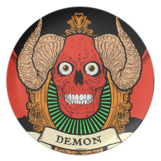 Demon Devil Skull with Bat Wings and Rams Horns Party Plates