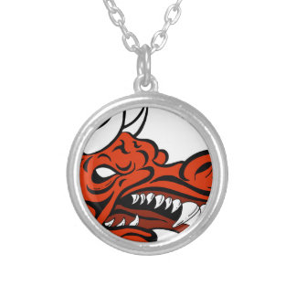 Demon Dragon Face Creature Round Pendant Necklace