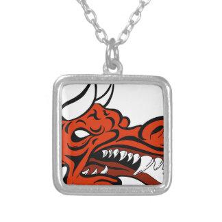 Demon Dragon Face Creature Square Pendant Necklace