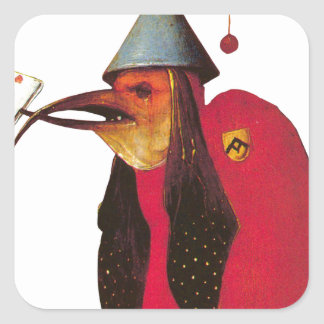 Demon from Garden of Earthly Delights. Hieronymous Square Sticker