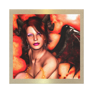 Demon Girl Gothic 3D Wrapped Canvas