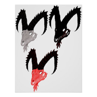 Demon Goat Skulls Print