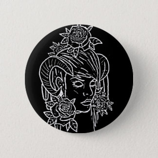demon horn girl tattoo design button