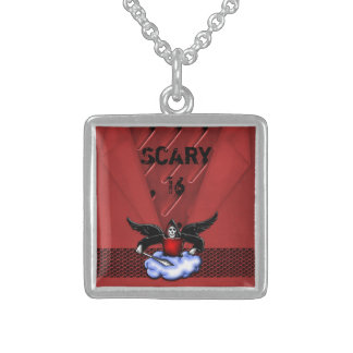 Demon Hunter Goth Red Scary 16th Birthday Sterling Silver Necklace