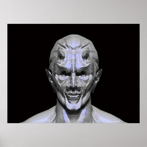 Demon in stone print