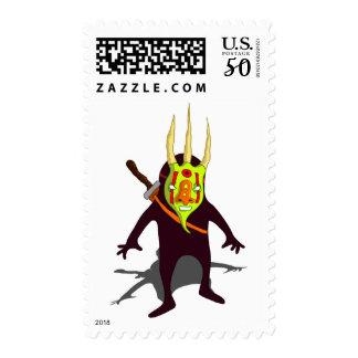 Demon Ninja Monster Mask & Sword Stamp