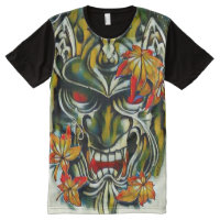 Demon Samurai Mask Fantasy Art All-Over-Print T-Shirt