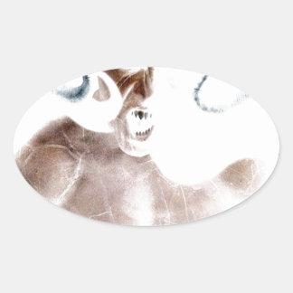 Demon Scream Oval Sticker