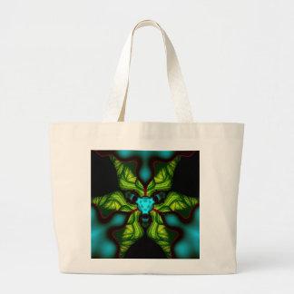 Demon Shadows – Emerald and Yellow Mask Large Tote Bag