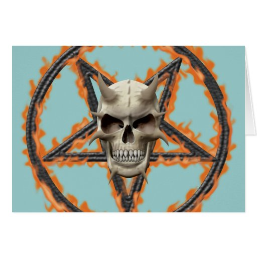 Demon Skull & Burning Pentagram Greeting Card