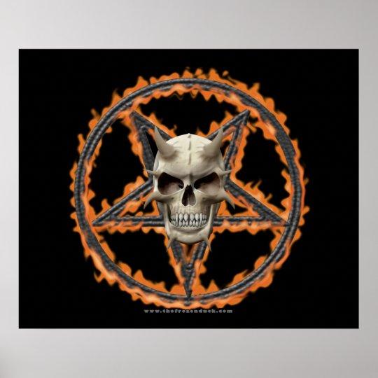 Demon Skull & Burning Pentagram Poster