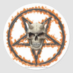 Demon Skull & Burning Pentagram Classic Round Sticker