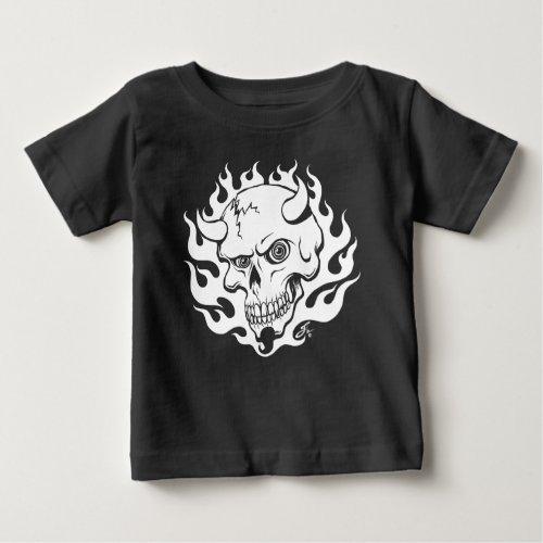 Demon Skull in Flames Baby T_Shirt