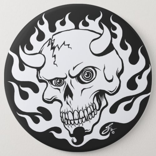 Demon Skull in Flames Button