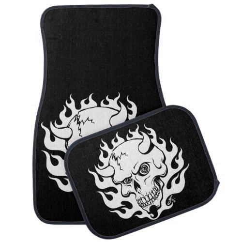 Demon Skull in Flames Car Floor Mat