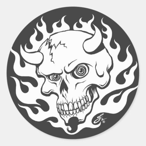 Demon Skull in Flames Classic Round Sticker