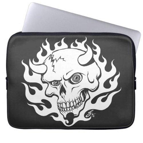 Demon Skull in Flames Computer Sleeve