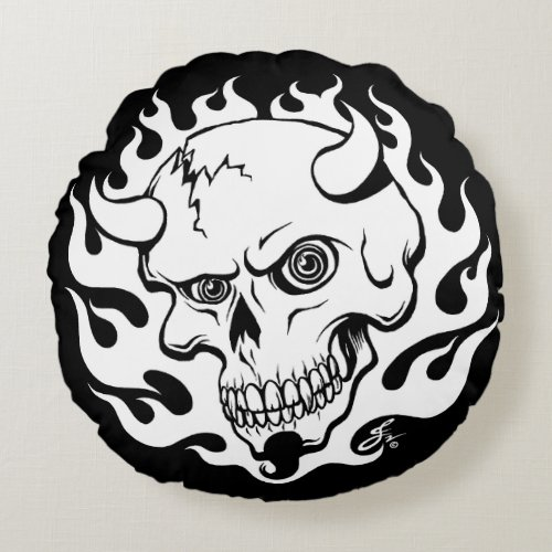 Demon Skull in Flames Round Pillow