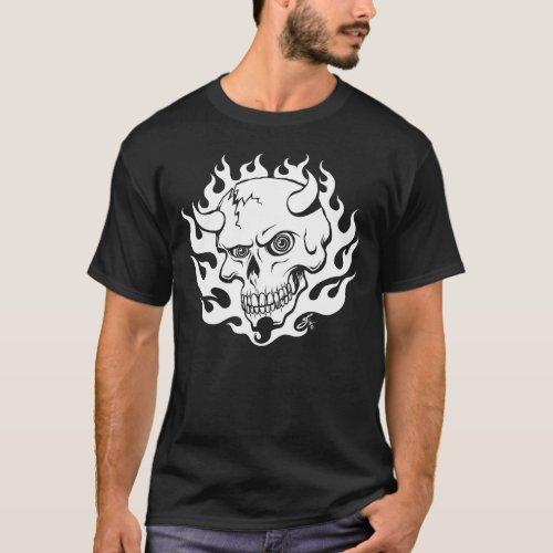 Demon Skull in Flames T_Shirt