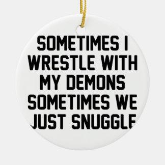 Demon Snuggle Ceramic Ornament