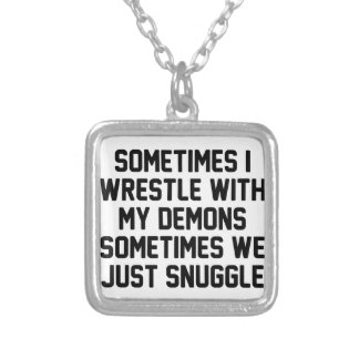 Demon Snuggle Silver Plated Necklace