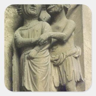 Demon tempting a woman, exterior figure square sticker