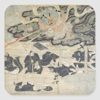 Demon Thunder, Tenjin Shrine, Kamakura Period Square Sticker