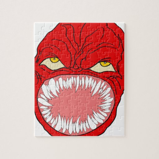Demon Tooth Face Art Jigsaw Puzzles