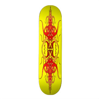Demon Tribal Tattoo - red flame skateboard deck