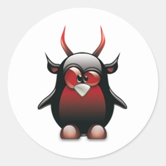 Demon Tux (Linux Tux) Classic Round Sticker