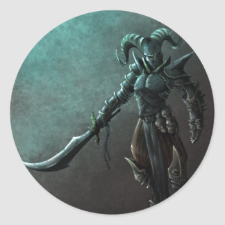 Demon Warrior Classic Round Sticker