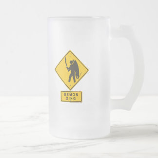 Demon XING 16 Oz Frosted Glass Beer Mug