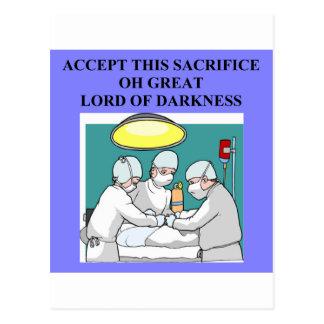 demonic doctor / surgeon joke postcard