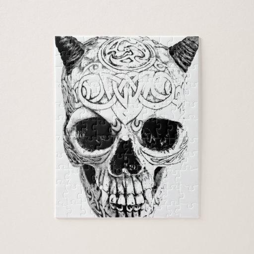 Demonic Halloween Skull. Digital Gothic Horror Jigsaw Puzzles