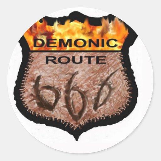 Demonic Route 666 Classic Round Sticker
