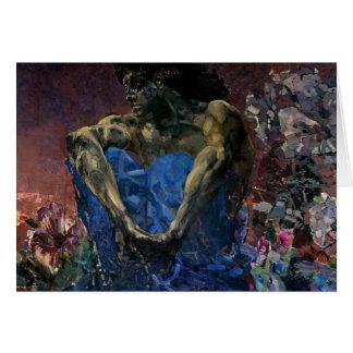 Demonio asentado Vrubel- de Mikhail Felicitacion