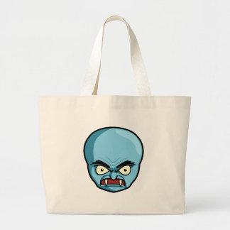 Demonio azul calvo divertido bolsa tela grande