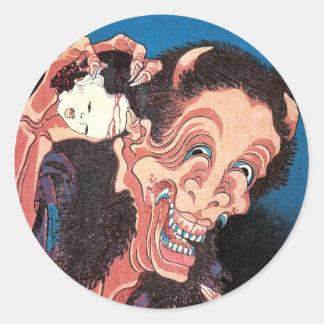 Demonio de risa Warai-Hannya, Hokusai Pegatina Redonda