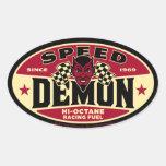 Demonio de velocidad 003B Pegatina De Oval Personalizadas