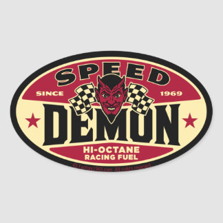 Demonio de velocidad 003B Pegatina Ovalada