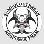 Demonio del Biohazard del brote del zombi Etiquetas Redondas