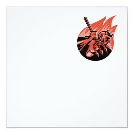 Demonio del diablo con el Pitchfork de Trident Invitación 13,3 Cm X 13,3cm