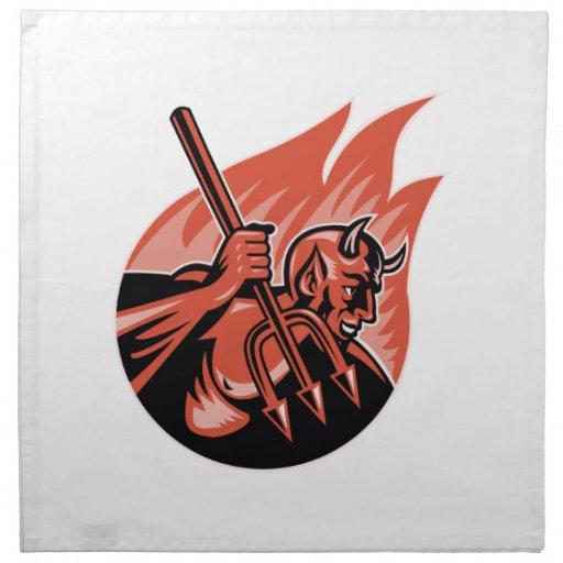 Demonio del diablo con el Pitchfork de Trident Servilleta Imprimida