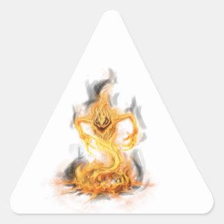Demonio del fuego pegatina triangular