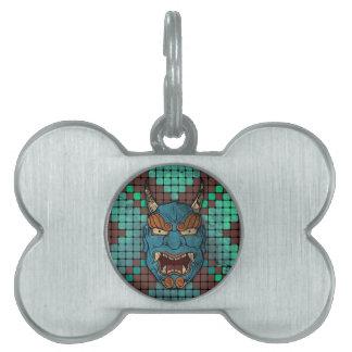 Demonio japonés placa de mascota