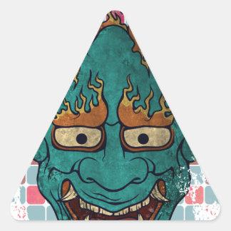 Demonio japonés pegatina triangular