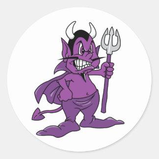 Demonio púrpura del dibujo animado etiquetas redondas