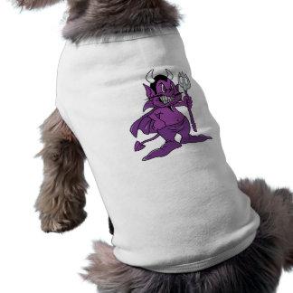 Demonio púrpura del dibujo animado playera sin mangas para perro
